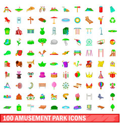 100 amusement park icons set cartoon style vector image