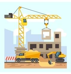 Building house construction flat design concept vector image