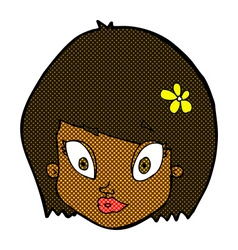comic cartoon happy female face vector image vector image