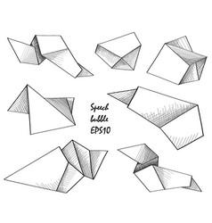 Flying empty sheet of paper doodle speech frame vector