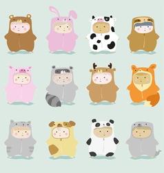 Set of kids in cute animal costumes 1 vector image