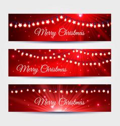 christmas light garlands banners set vector image