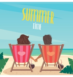 Couple resting on the beach vector image vector image