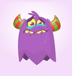 cute cartoon monster with horns vector image vector image
