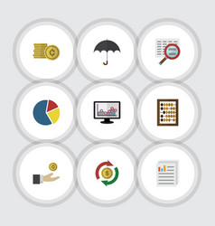Flat icon gain set of parasol hand with coin vector