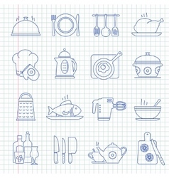 Hand drawn cooking icons vector image vector image