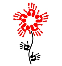 handprint in the shape of a flower vector image vector image