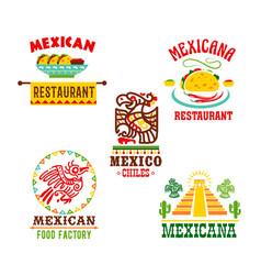 Mexican cuisine restaurant icons set vector