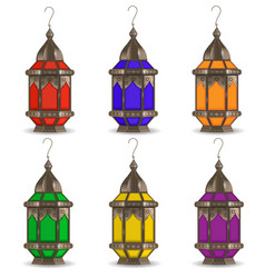 ramadan kareem set of multicolored lanterns vector image vector image