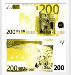 two hundred euro grunge trace vector image
