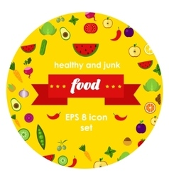 vegetables and fruits in vector image