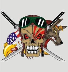 animal sword skull vector image