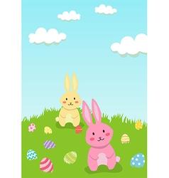 Easter Rabbit in Garden Greeting Card vector image vector image