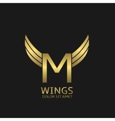 Golden M letter logo vector image vector image