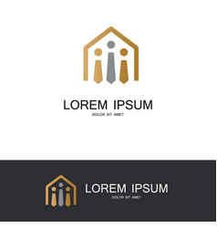 house of tie gold logo vector image
