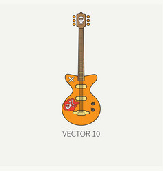 line flat color icon musical instruments - vector image vector image