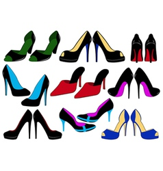 of different shoes vector image vector image