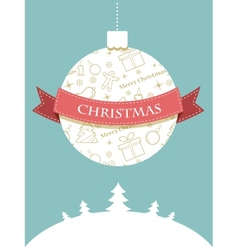 Christmas ball with seasonal objects pattern vector image