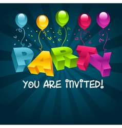 Colorful Party Invitation Card vector image vector image