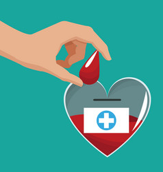 donate blood hand giving drop vector image vector image