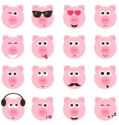 pig smiley faces set vector image vector image