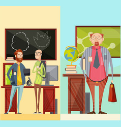 teachers vertical retro banners vector image