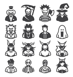 16 premium halloween costume icons vector image