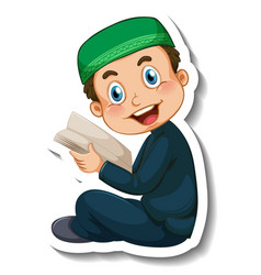 A sticker template with muslim boy reading quran vector