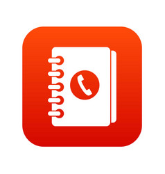 Address book icon digital red vector