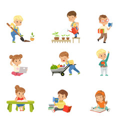 Adorable little kids reading books and working in vector