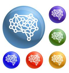 artificial brain icons set vector image