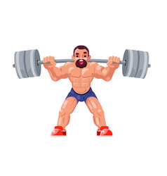 athletic weightlifting workout with barbell vector image
