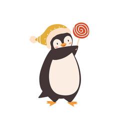 Baby penguin with lollipop flat vector
