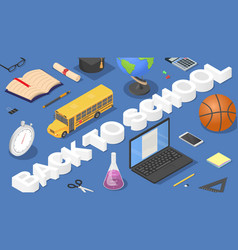 back to school concept background isometric style vector image