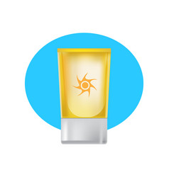 Beautiful tube of suntan cream skin care beauty vector