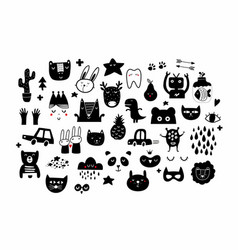 Big set black and white images in scandinavian vector