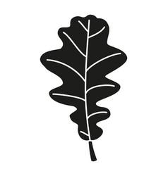 black and white asymmetrical oak leaf silhouette vector image