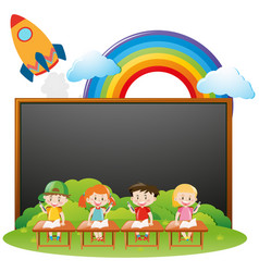 Board template with kids in classroom vector