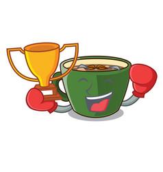 Boxing winner indian masala tea isolated on mascot vector