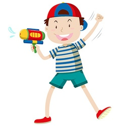 Boy with water gun vector