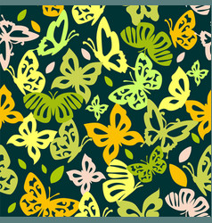 butterfly background green vector image