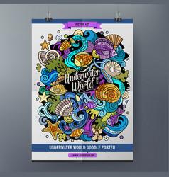 cartoon hand drawn doodles sea life poster design vector image