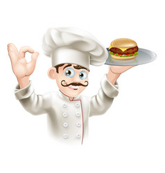 chef with burger vector image
