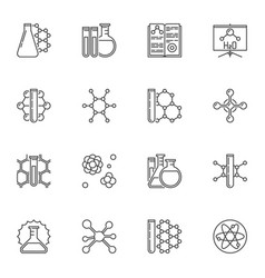 chemistry concept minimal icons in outline vector image