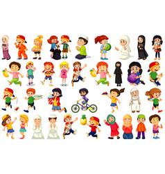 children doing different activities cartoon vector image