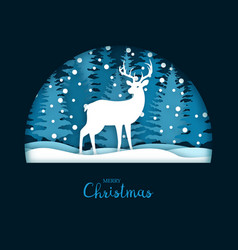 christmas card with deer in the forest greeting vector image
