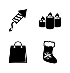christmas simple related icons vector image