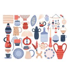 Collection trendy ceramic household crockery vector