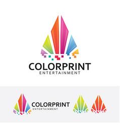 color printing logo design vector image