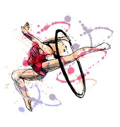 Colored hand sketch gymnast vector image
